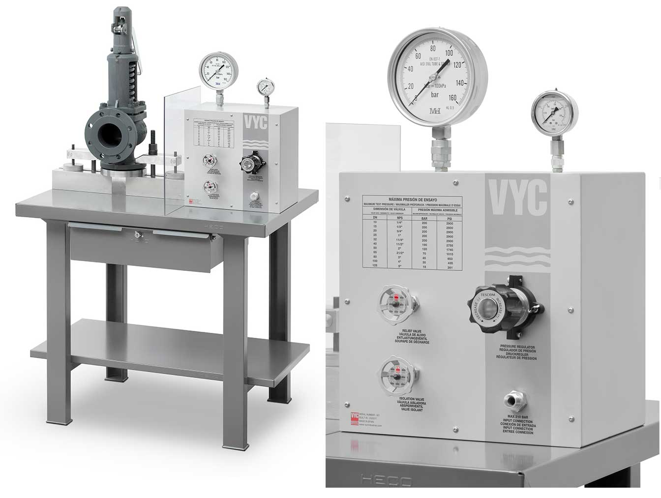 Test bench for safety valves