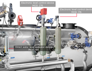 Water level control systems for steam boilers